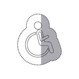 Sticker contour pictogram sitting in abstract reclininig wheelchair flat icon Stock Photo
