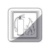 Sticker contour signal silhouette fire flame and extinguisher icon Stock Photo
