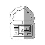 Sticker contour tech computer with cloud storage server icon stock Royalty Free Stock Images