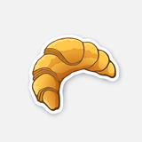 Sticker croissant. Vector illustration. Traditional French breakfast croissant. Cartoon sticker in comics style with contour. Decoration for greeting cards stock illustration