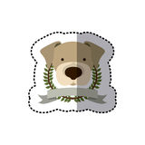 Sticker crown leaves and label with beagle dog animal Royalty Free Stock Photos