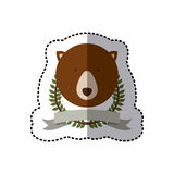 Sticker crown leaves and label with bear animal Royalty Free Stock Photo