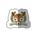 Sticker crown leaves and label with deer animal Stock Photo