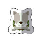 Sticker crown leaves and label with husky dog animal Stock Photo
