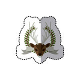 Sticker crown leaves and label with moose animal Stock Photo