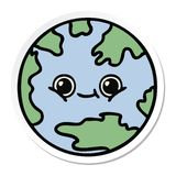 Sticker of a cute cartoon planet earth. A creative sticker of a cute cartoon planet earth stock illustration