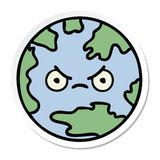 Sticker of a cute cartoon planet earth. A creative sticker of a cute cartoon planet earth vector illustration