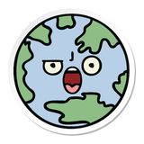 Sticker of a cute cartoon planet earth. A creative sticker of a cute cartoon planet earth royalty free illustration
