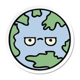 Sticker of a cute cartoon planet earth. A creative illustrated sticker of a cute cartoon planet earth royalty free illustration