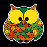 Sticker - cute colored owl with big yellow eyes Stock Photo