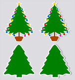 A sticker decorative fir with and without shadow. Illustration Stock Images