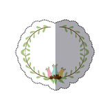 sticker decorative half border with leaves and flowerbud Royalty Free Stock Photo