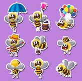 Sticker design for bee in different actions. Illustration Stock Photos