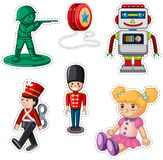Sticker design with different dolls. Illustration Royalty Free Stock Photo