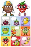 Sticker design with different fruits. Illustration Stock Photos