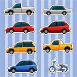 Sticker design for different kinds of vehicles. Illustration Royalty Free Stock Photos