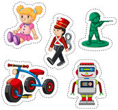 Sticker design for different toys. Illustration Stock Photography