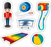 Sticker design with different toys. Illustration Stock Image