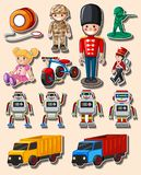 Sticker design with different toys and trucks. Illustration Royalty Free Stock Photo