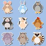 Sticker design for different types of animals. Illustration Stock Images