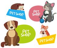 Sticker design for different types of pets. Illustration Stock Photos