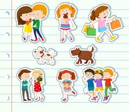 Sticker design with family and friends Stock Photos
