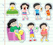 Sticker design with many kids eating sweets. Illustration Royalty Free Stock Photo