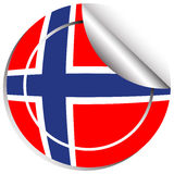 Sticker design for Norway flag Stock Image