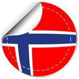 Sticker design for Norway flag. Illustration Royalty Free Stock Photography