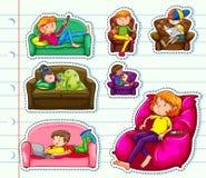 Sticker design with people on sofa. Illustration Stock Photo