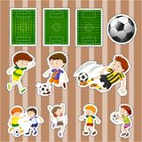 Sticker design for soccer players and fields. Illustration Stock Image