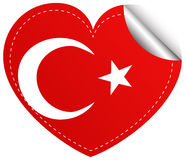 Sticker design for Turkey flag in heart shape Royalty Free Stock Photos