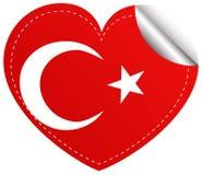 Sticker design for Turkey flag in heart shape Stock Image