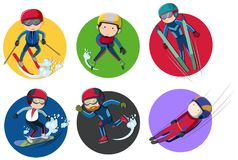 Sticker design for winter sports Royalty Free Stock Photo