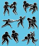 Sticker designs for different martial arts. Illustration Royalty Free Stock Image