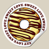 Sticker with donut. Royalty Free Stock Image