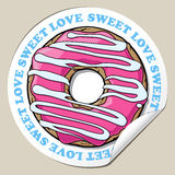 Sticker with donut. Royalty Free Stock Photography