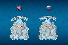 Sticker elephant. Wants to sleep. The elephant hugged the pillow. Sleepy. Big set of stickers Royalty Free Stock Photo
