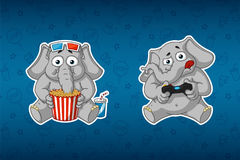 Sticker elephant. He watches a movie and plays in the console. 3D glasses. Gamepad. Big set of stickers Royalty Free Stock Photos