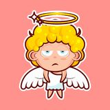 Sticker emoji emoticon, emotion, boredom, unperturbed, hopelessness, vector isolated character sweet divine entity Royalty Free Stock Images