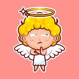 Sticker emoji emoticon emotion Hmm, doubt, thinking vector isolated illustration character sweet divine entity, cute Royalty Free Stock Image