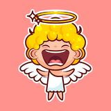 Sticker emoji emoticon, emotion joy, shouting vector isolated illustration happy character sweet divine entity, cute. Heavenly angel, saint spirit, wings Stock Photography