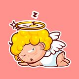 Sticker emoji emoticon, emotion sleep on stomach, lie down, doze, sleepy vector nap character sweet divine entity Stock Photography
