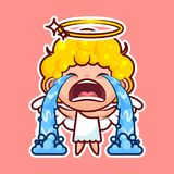 Sticker emoji emoticon, emotion sob, cry, weep, vector  illustration happy character sweet divine entity, cute. Heavenly angel, saint spirit, wings, radiant Stock Image