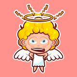 Sticker emoji emoticon, emotion swear, angry, lightning, vector isolated illustration character sweet divine entity Stock Photo