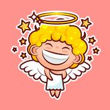 Sticker emoji emoticon, emotion walk, hang out, star, date vector illustration happy character sweet divine entity, cute. Heavenly angel, saint spirit, wings Stock Photo