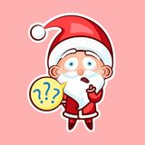 Santa Claus Sticker emoji emoticon. Sticker emoji emoticon, emotion what, misunderstanding, question marks, vector isolated character sweet cute Santa Claus Stock Images