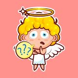 Sticker emoji emoticon, emotion what, misunderstanding, question marks, vector isolated character sweet divine entity. Heavenly angel, saint spirit, wings Stock Photos
