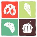 Sticker en pictogrammen voor restaurants Royalty-vrije Stock Afbeeldingen