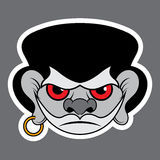 Sticker - evil pirate with red eyes and earrings Stock Images